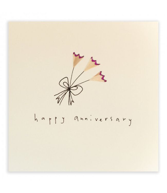 Pencil Shavings Cards by Ruth Jackson | Happy Anniversary | pink Flowers