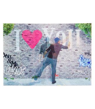 Lenticulaire Kaart Bewegend | Graffiti |  I love you