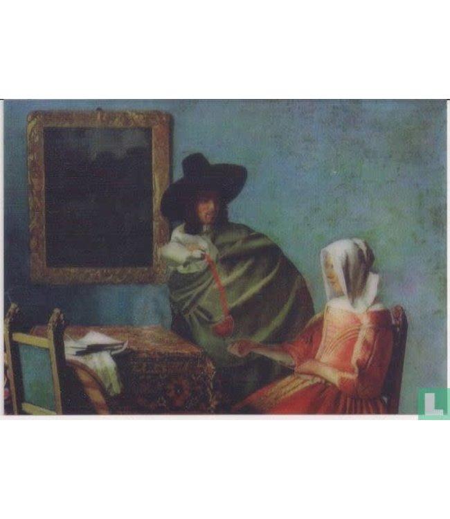 Lenticulaire Kaart Bewegend   Het glas wijn, Vermeer 1660