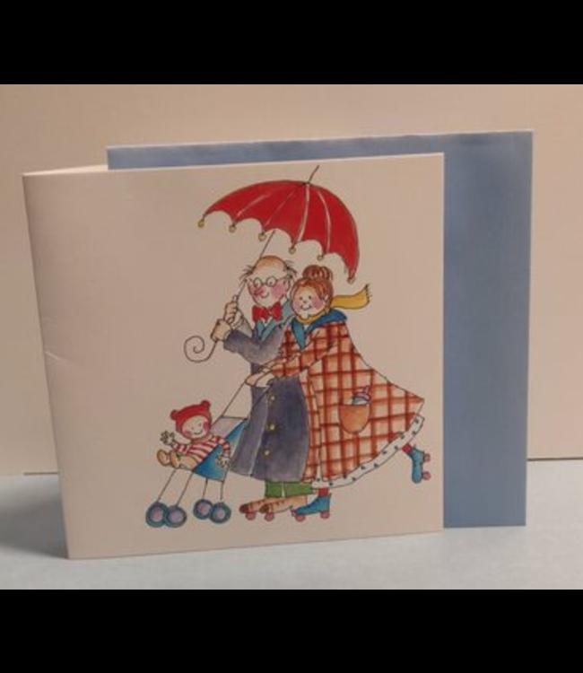 Birgitta Cards | Dubbele Kaart | Opa en Oma | Onder de Paraplu