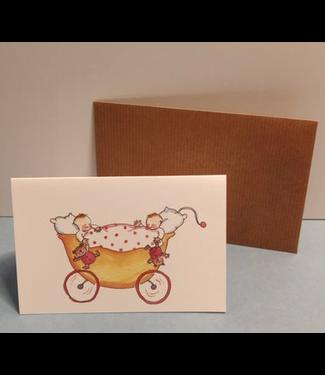 Birgitta cards Birgitta Cards | Dubbele Kaart | Geboorte Kaartje | Tweeling | Yellow Pram