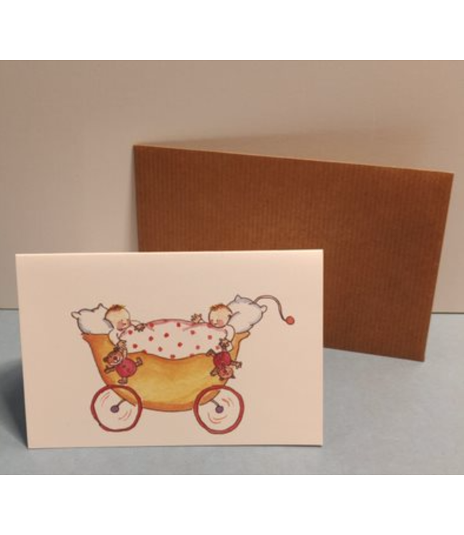 Birgitta Cards | Dubbele Kaart | Geboorte Kaartje | Tweeling | Yellow Pram