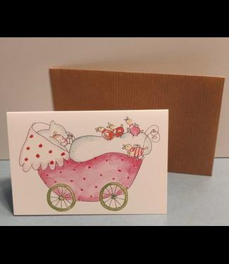 Birgitta cards Birgitta Cards | Dubbele Kaart | Geboorte Kaartje | Pink Pram