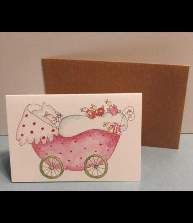 Birgitta Cards | Dubbele Kaart | Geboorte Kaartje | Pink Pram