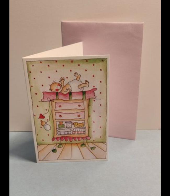 Birgitta Cards   Dubbele Kaart   Geboorte Kaartje   Klaar voor de Verschoning
