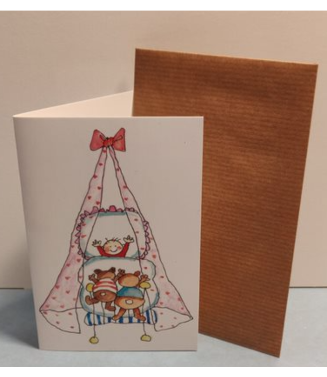 Birgitta Cards   Dubbele Kaart   Geboorte Kaartje   Beren op Bezoek