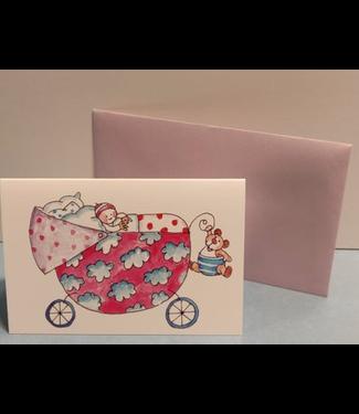 Birgitta cards Birgitta Cards | Dubbele Kaart | Geboorte Kaartje | White Clouds on Pink