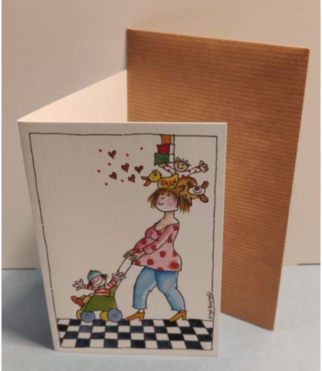 Birgitta Cards   Dubbele Kaart   Geboorte Kaartje   Mama Houdt het Hoofd Koel