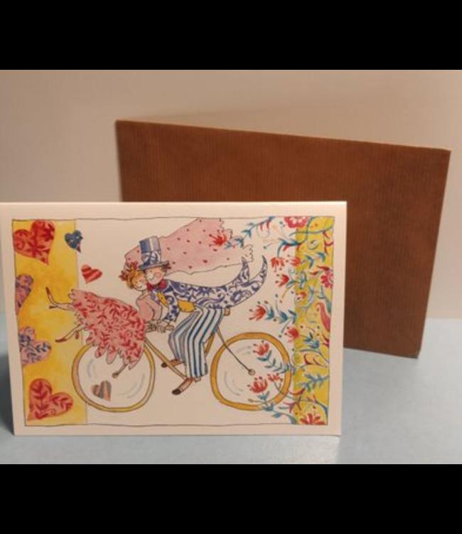 Birgitta Cards   Dubbele Kaart   Getrouwd   Op de Fiets
