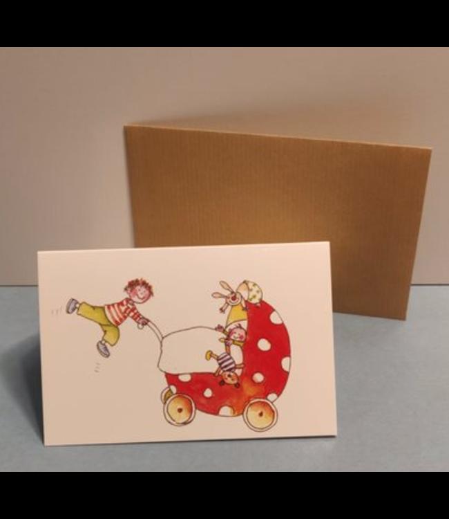 Birgitta Cards | Dubbele Kaart | Geboorte Kaartje | Tweede Kindje | Flying High
