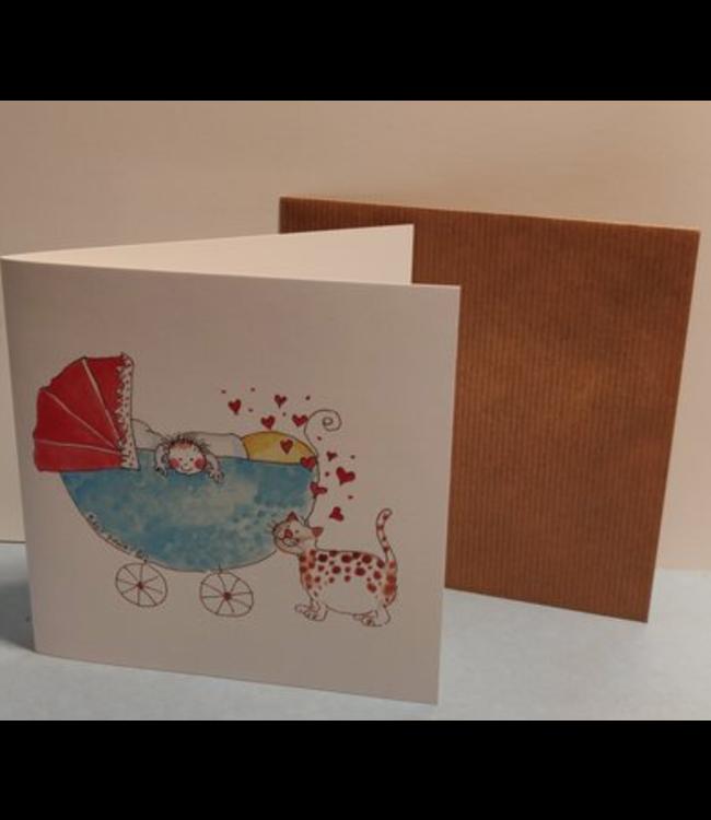 Birgitta Cards   Dubbele Kaart   Geboorte Kaartje   Lot's of Kitty Love