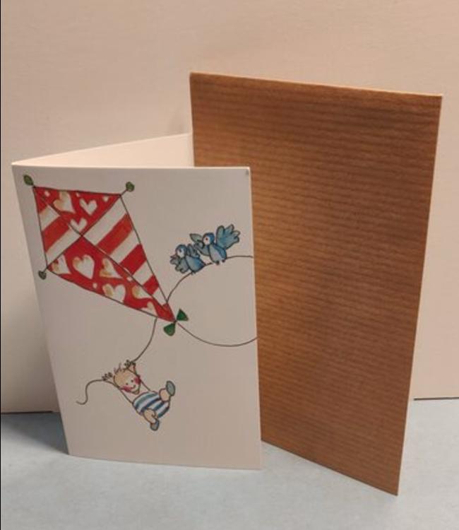 Birgitta Cards | Dubbele Kaart | Geboorte Kaartje | De Vlieger