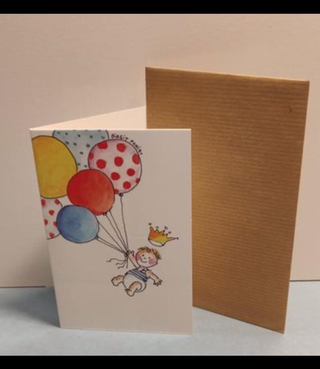 Birgitta Cards   Dubbele Kaart   Geboorte Kaartje   Zes Ballonnen