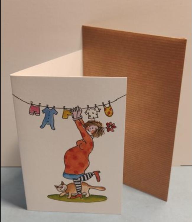 Birgitta Cards   Dubbele Kaart   In Verwachting   Kleine Wasjes