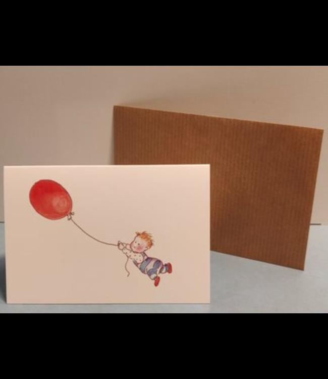 Birgitta Cards   Dubbele Kaart   Geboorte Kaartje   Rode Ballon