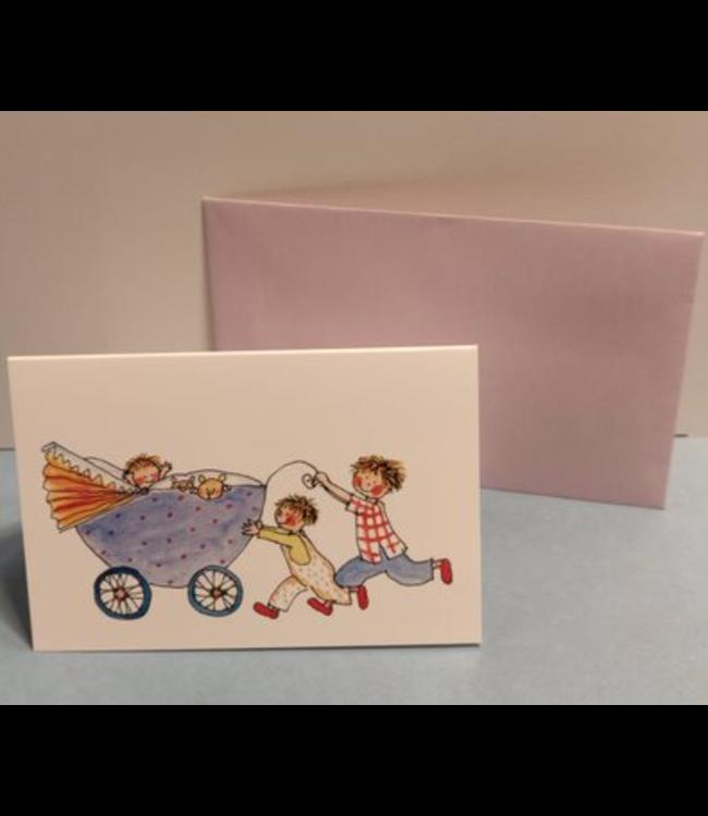 Birgitta Cards | Dubbele Kaart | Geboorte Kaartje | Derde Kindje | Paarse Kinderwagen