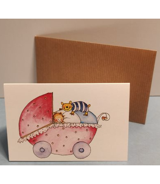 Birgitta cards Birgitta Cards | Dubbele Kaart | Geboorte Kaartje | Cat on Top