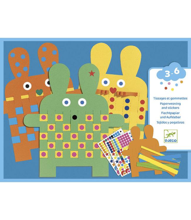 Djeco | Papier Weven en Stickers | Konijnen | 3-6 jaar