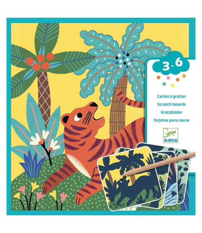 Djeco | Kraskaarten 4 delig | Grote Beesten | 3 - 6 jaar