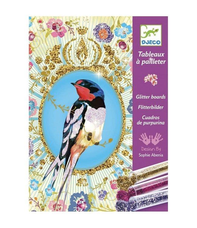 Djeco | Glitter Schilderijen | Vogels met Glittertjes | 7-13 jaar