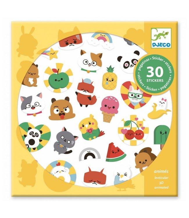 Djeco | 3D Lenticulaire Stickers | Emoties | 30 delig | 4+