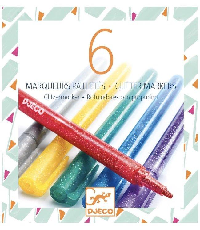 Djeco   Glitter Markers   Klassiek   6 delig  6+