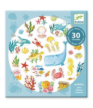 Djeco Djeco | Glitter Stickers | Aqua Dream | 30 pcs | 4+