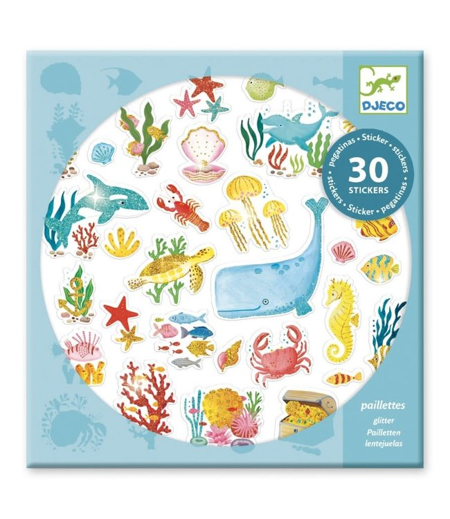 Djeco | Glitter Stickers | Aqua Dream | 30 pcs | 4+