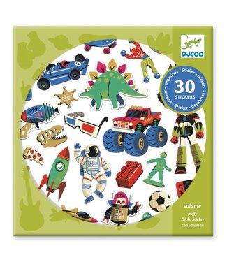 Djeco Djeco | Puffy Stickers | Rétro Toys | 30 pcs | 4+