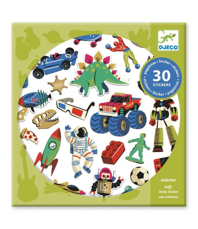 Djeco | Puffy Stickers | Rétro Toys | 30 pcs | 4+
