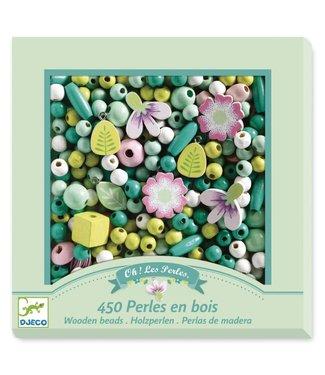 Djeco Djeco | Houten Kralen | Bladeren en Bloemen | 450 stuks | 4 - 8 jaar