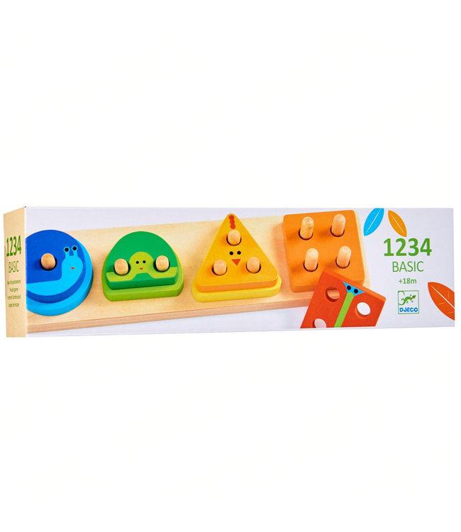 Djeco | Geometrische  Puzzel | 1 , 2, 3, 4 Basic | +18 mnd
