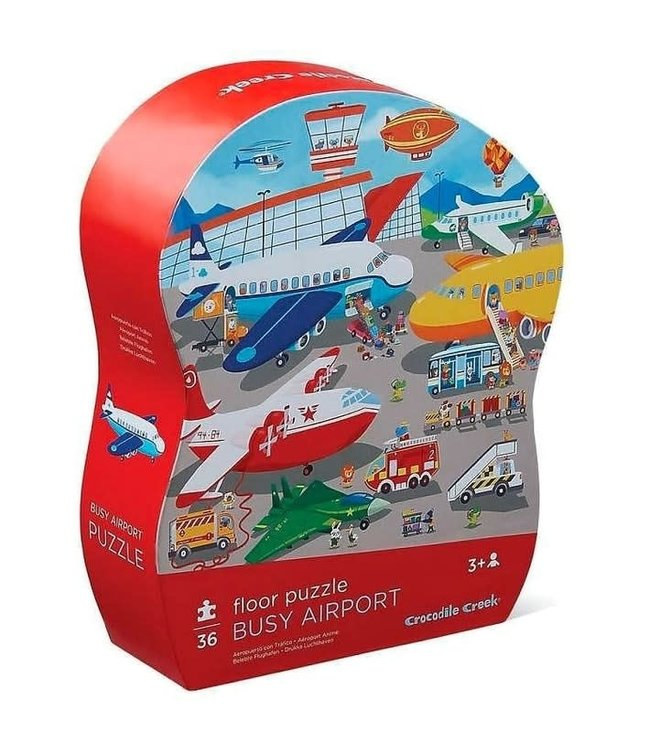 Crocodile Creek | Shaped Box Floor Puzzle | Busy Airport | 36 delig | 3+