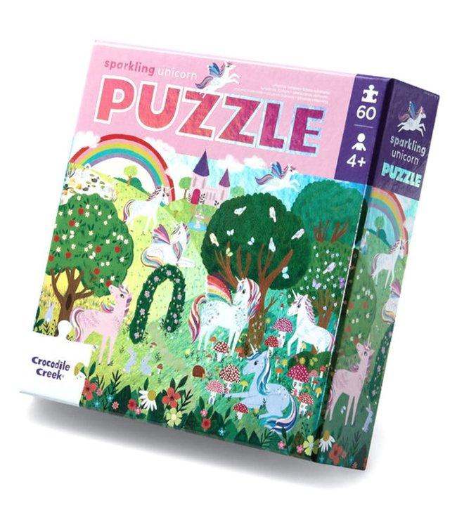 Crocodile Creek   Foil Puzzle   Sparkling Unicorn   60 stukjes   4+