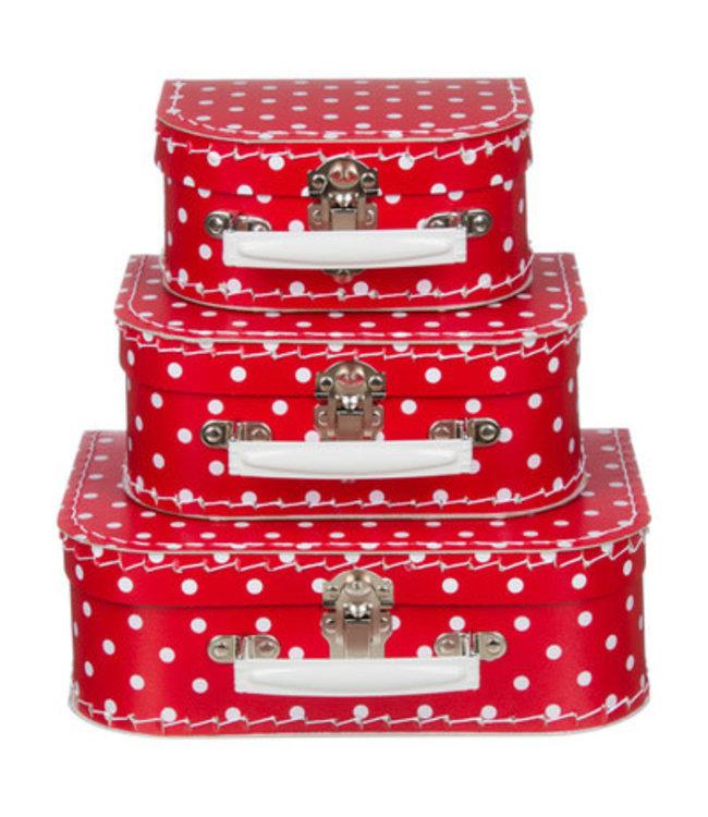 Kinderkoffer | Rood met Grote Witte Stippen | 16 cm