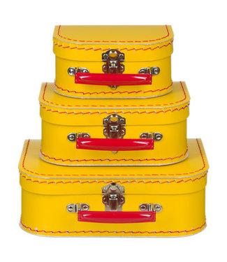 Kinderkoffer | Geel met Rood Handvat | 25 cm