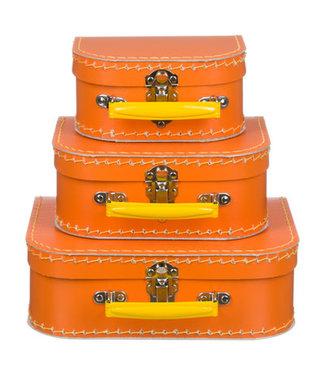 Kinderkoffer | Oranje met Geel Handvat | 16 cm