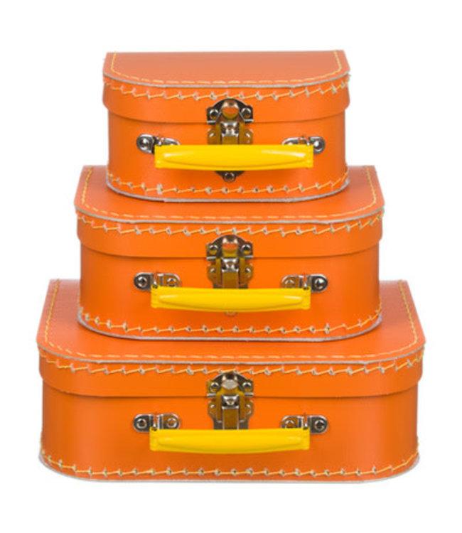 Kinderkoffer | Oranje met Geel Handvat | 20 cm