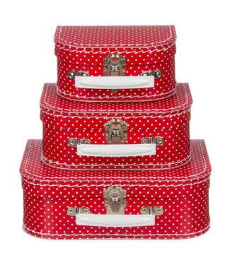 Kinderkoffer | Rood met Stipje  | 16 cm
