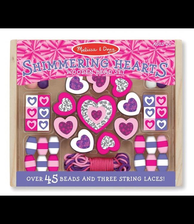 Melissa and Doug | Wooden Bead Set | Shimmering Hearts | 4+