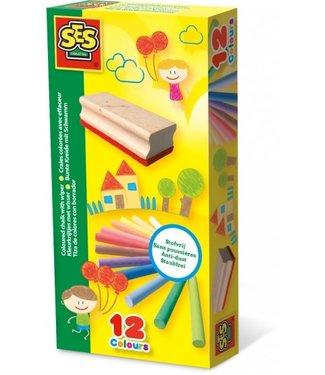 Ses SES 12 Kleurkrijtjes met Bordewisser 2+