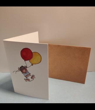 Birgitta Cards | Dubbele Kaart | Geboorte Kaartje |  Twee Gekleurde Ballonnen