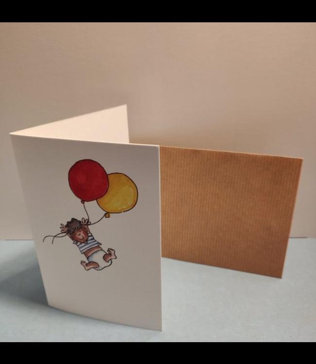 Birgitta Cards   Dubbele Kaart   Geboorte Kaartje    Twee Gekleurde Ballonnen