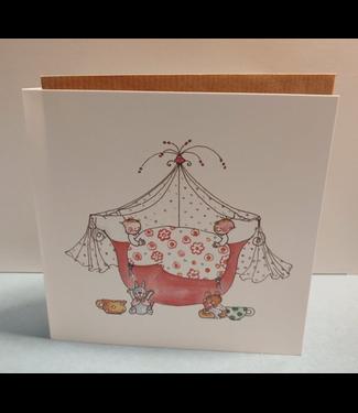 Birgitta Cards | Dubbele Kaart | Geboorte Kaartje | de Tweeling met 5 haren