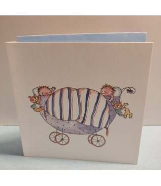 Birgitta Cards | Dubbele Kaart | Geboorte Kaartje | Tweeling in Paarse Kinderwagen