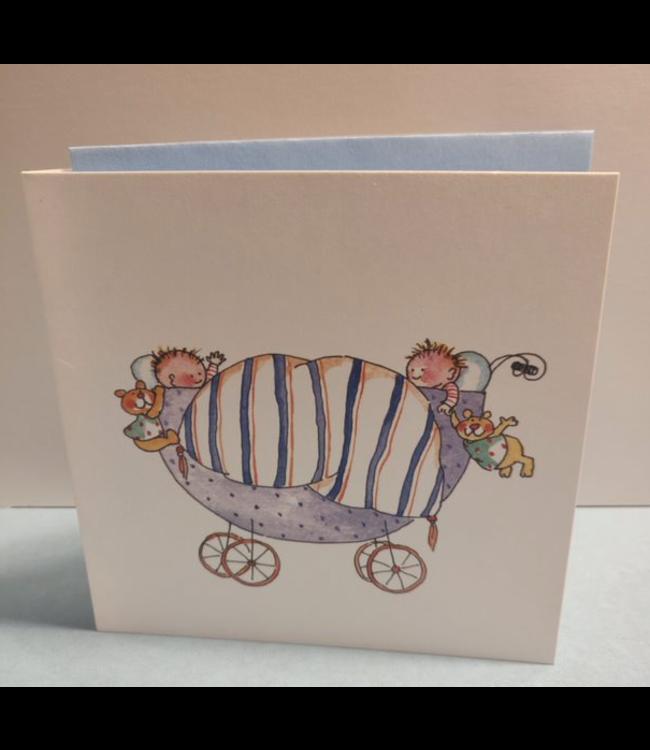 Birgitta Cards   Dubbele Kaart   Geboorte Kaartje   Tweeling in Paarse Kinderwagen