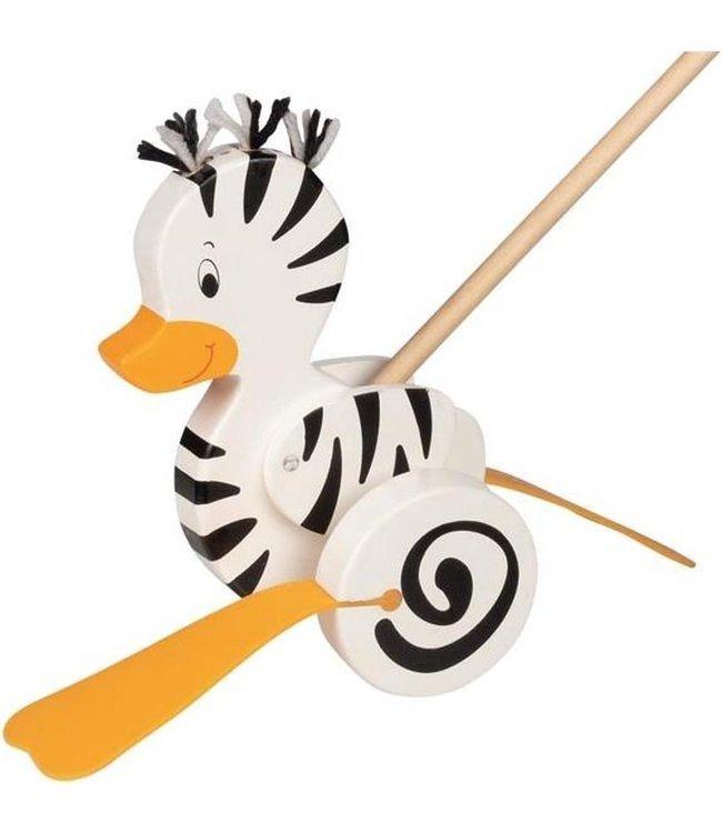 Goki | Houten Duwstok |  Zebra -Eend  | 20,5 cm | 4+