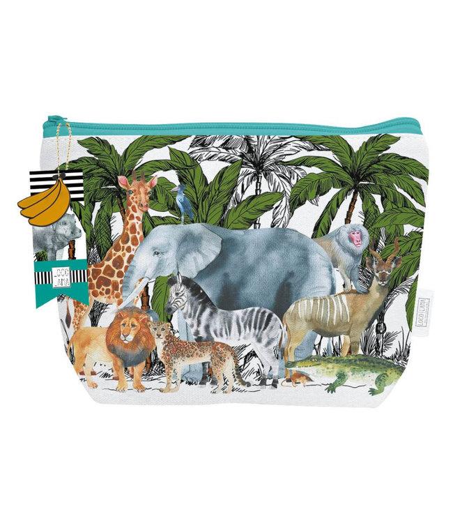 Loco Lama | Katoenen Etui | Safari - Jungle - Dieren | 26 x 19 cm