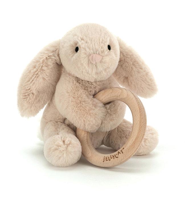 Jellycat   Shooshu Bunny   Wooden Ring Toy   14 cm   0+