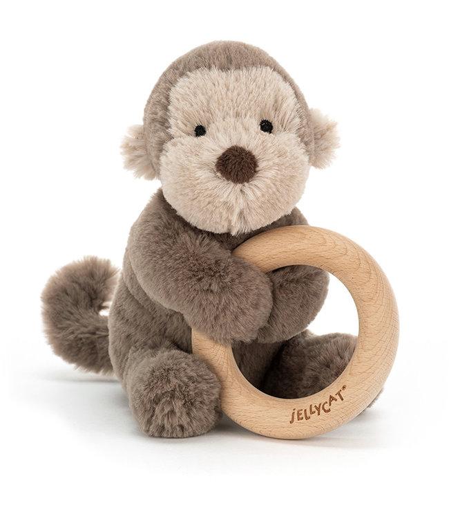 Jellycat Shooshu Monkey Wooden Ring Toy | 14 cm